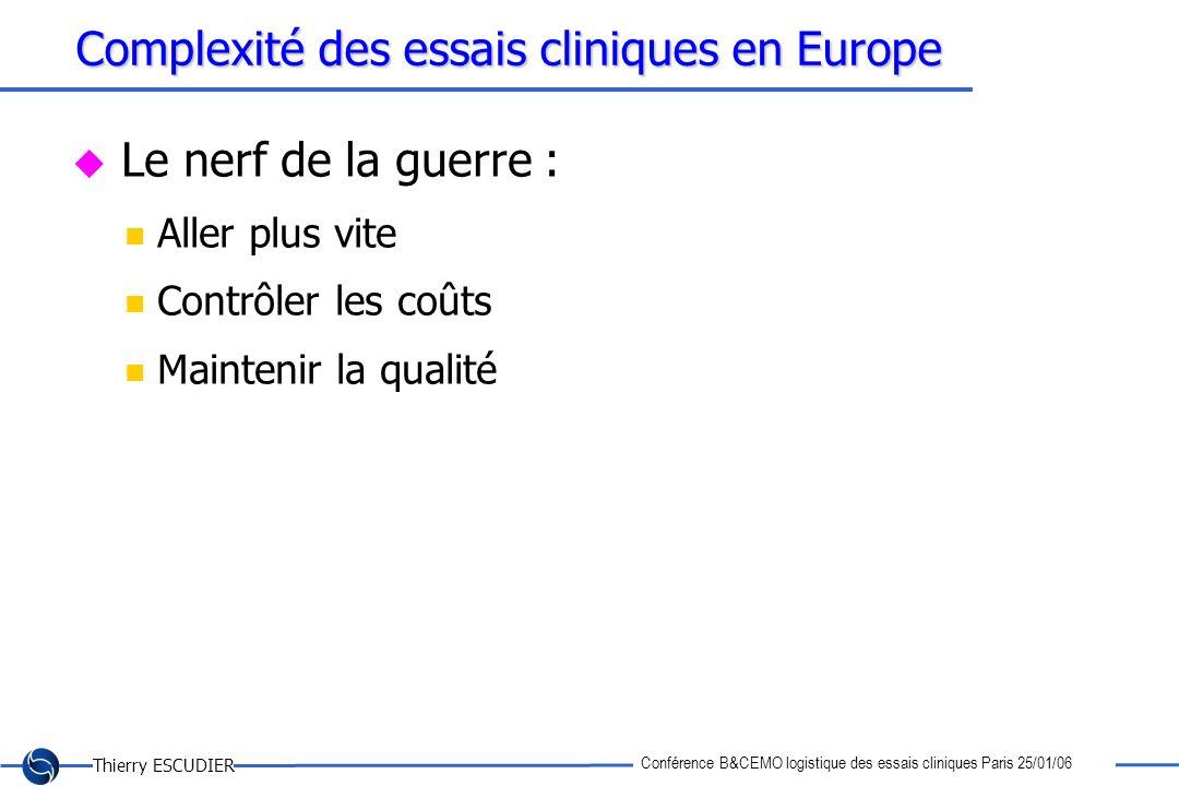 Thierry ESCUDIER Conférence B&CEMO logistique des essais cliniques Paris 25/01/06 Complexité des essais cliniques en Europe Le nerf de la guerre : All