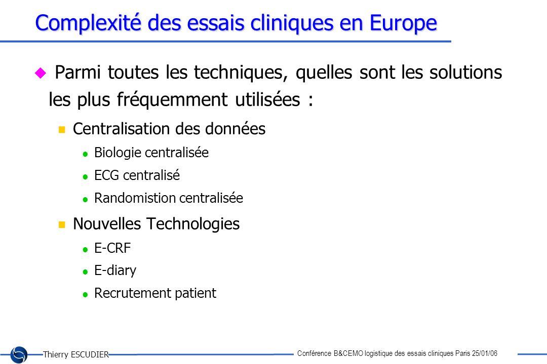 Thierry ESCUDIER Conférence B&CEMO logistique des essais cliniques Paris 25/01/06 Complexité des essais cliniques en Europe Parmi toutes les technique