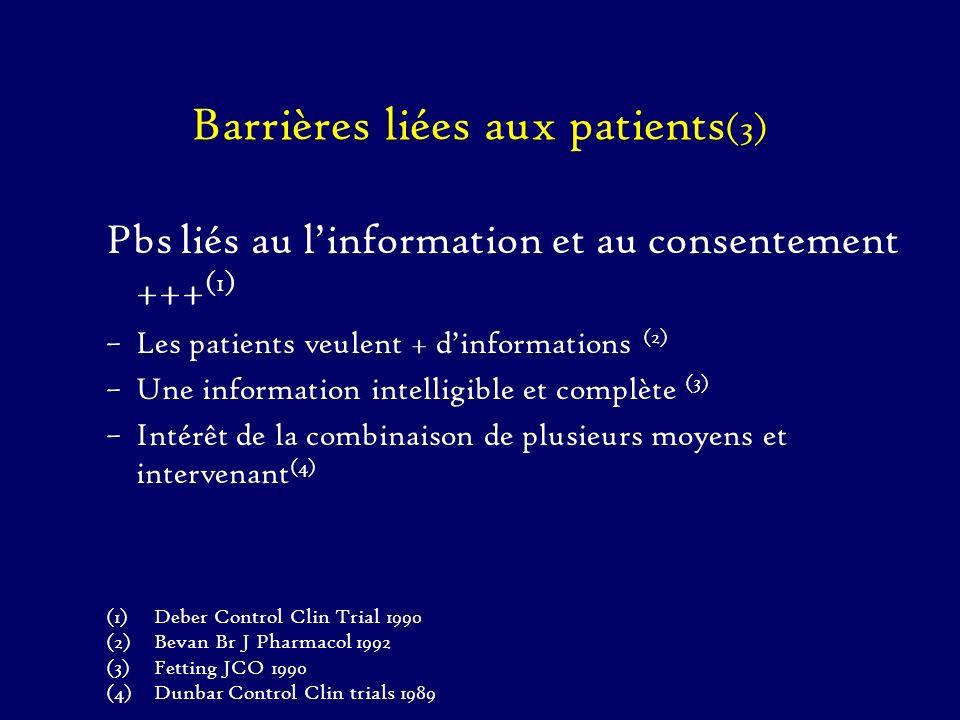Barrières liées aux patients (3) Pbs liés au linformation et au consentement +++ (1) –Les patients veulent + dinformations (2) –Une information intell