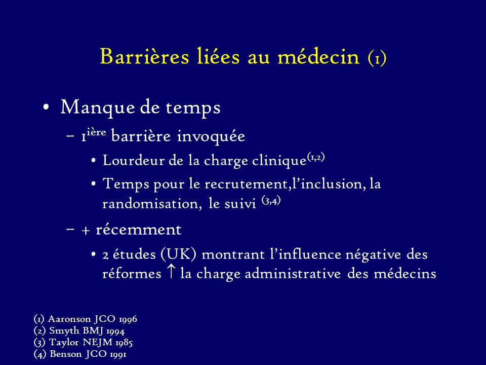 Barrières liées au médecin (1) Manque de temps –1 ière barrière invoquée Lourdeur de la charge clinique (1,2) Temps pour le recrutement,linclusion, la