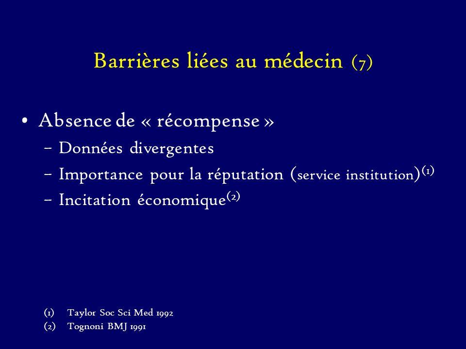 Barrières liées au médecin (7) Absence de « récompense » –Données divergentes –Importance pour la réputation ( service institution ) (1) –Incitation é