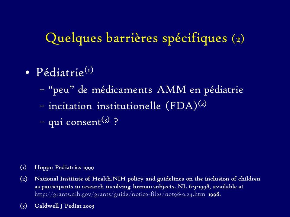 Quelques barrières spécifiques (2) Pédiatrie (1) –peu de médicaments AMM en pédiatrie –incitation institutionelle (FDA) (2) –qui consent (3) ? (1)Hopp