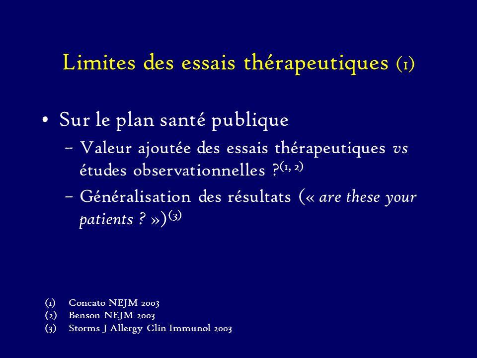 Limites des essais thérapeutiques (1) Sur le plan santé publique –Valeur ajoutée des essais thérapeutiques vs études observationnelles ? (1, 2) –Génér