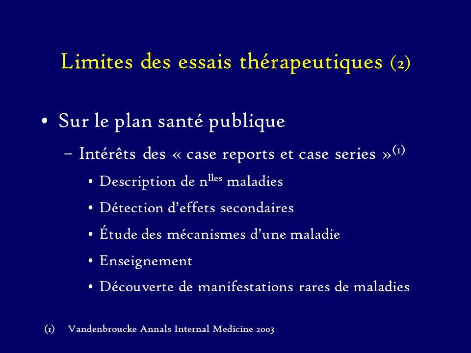 Limites des essais thérapeutiques (2) Sur le plan santé publique –Intérêts des « case reports et case series » (1) Description de n lles maladies Déte