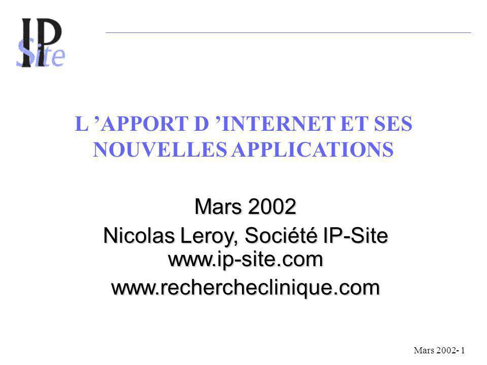 L APPORT D INTERNET ET SES NOUVELLES APPLICATIONS Mars 2002 Nicolas Leroy, Société IP-Site www.ip-site.com www.rechercheclinique.com Mars 2002- 1