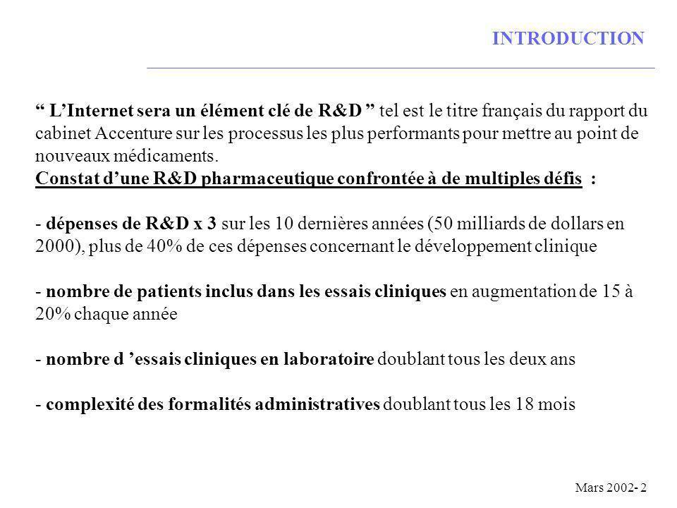 INTRODUCTION LInternet sera un élément clé de R&D tel est le titre français du rapport du cabinet Accenture sur les processus les plus performants pour mettre au point de nouveaux médicaments.