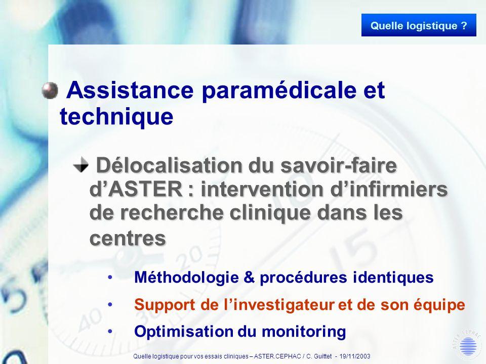 Quelle logistique pour vos essais cliniques – ASTER.CEPHAC / C. Guittet - 19/11/2003 Assistance paramédicale et technique Délocalisation du savoir-fai