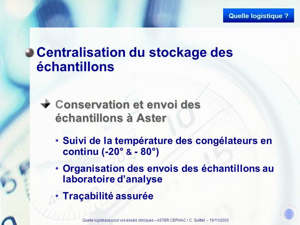 Quelle logistique pour vos essais cliniques – ASTER.CEPHAC / C. Guittet - 19/11/2003 Centralisation du stockage des échantillons onservation et envoi