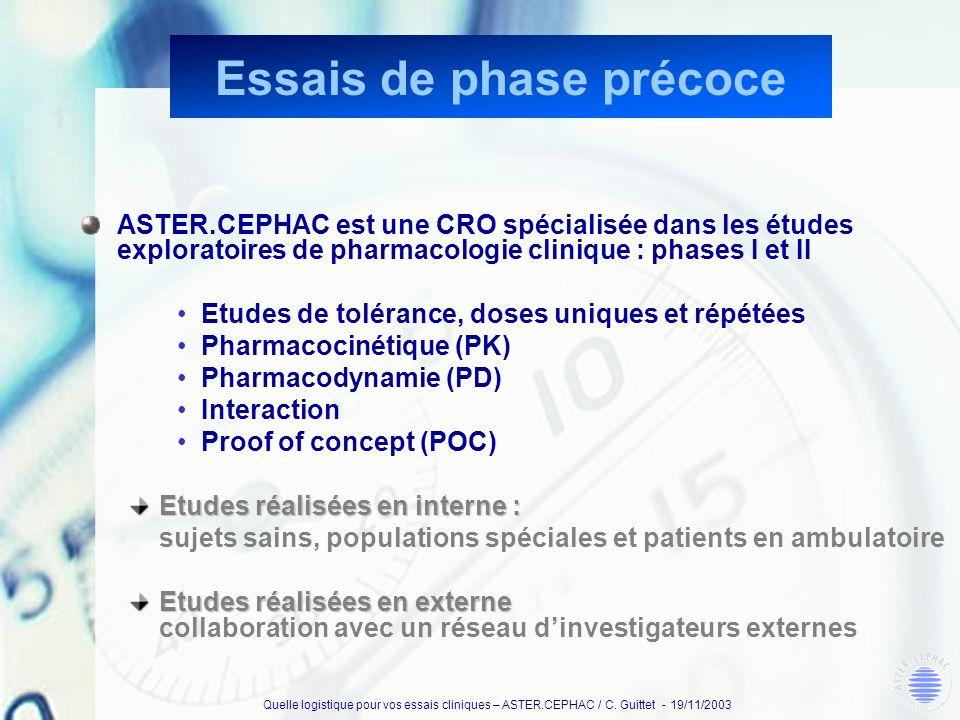Quelle logistique pour vos essais cliniques – ASTER.CEPHAC / C. Guittet - 19/11/2003 Essais de phase précoce ASTER.CEPHAC est une CRO spécialisée dans
