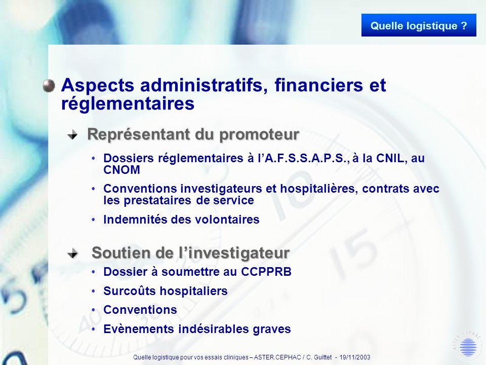 Quelle logistique pour vos essais cliniques – ASTER.CEPHAC / C. Guittet - 19/11/2003 Aspects administratifs, financiers et réglementaires Représentant