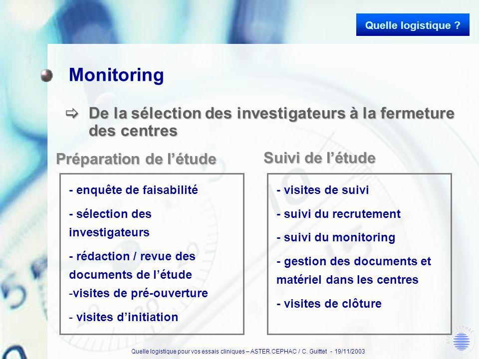 Quelle logistique pour vos essais cliniques – ASTER.CEPHAC / C. Guittet - 19/11/2003 Monitoring De la sélection des investigateurs à la fermeture des