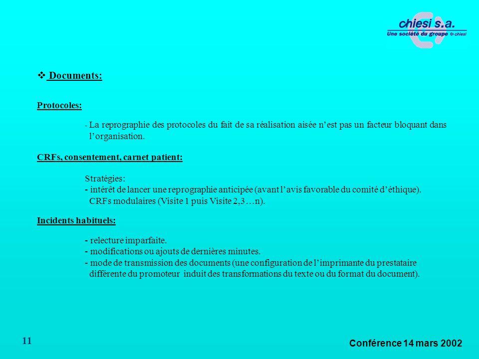 Conférence 14 mars 2002 11 Documents: Protocoles: - La reprographie des protocoles du fait de sa réalisation aisée nest pas un facteur bloquant dans lorganisation.