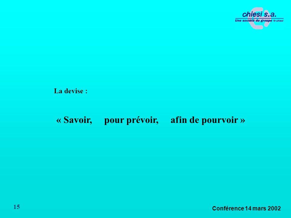 Conférence 14 mars 2002 15 La devise : « Savoir, pour prévoir, afin de pourvoir »