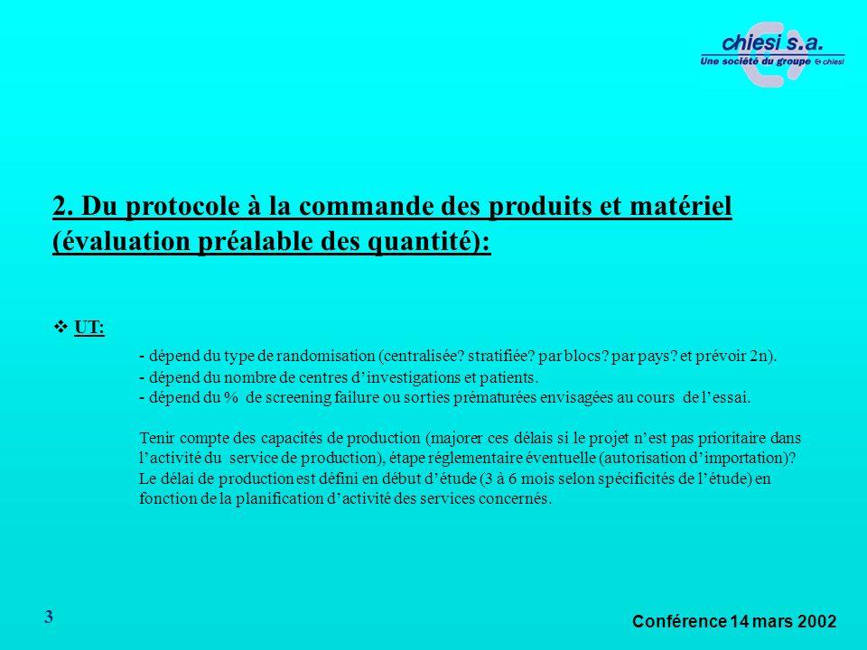 Conférence 14 mars 2002 3 2. Du protocole à la commande des produits et matériel (évaluation préalable des quantité): UT: - dépend du type de randomis