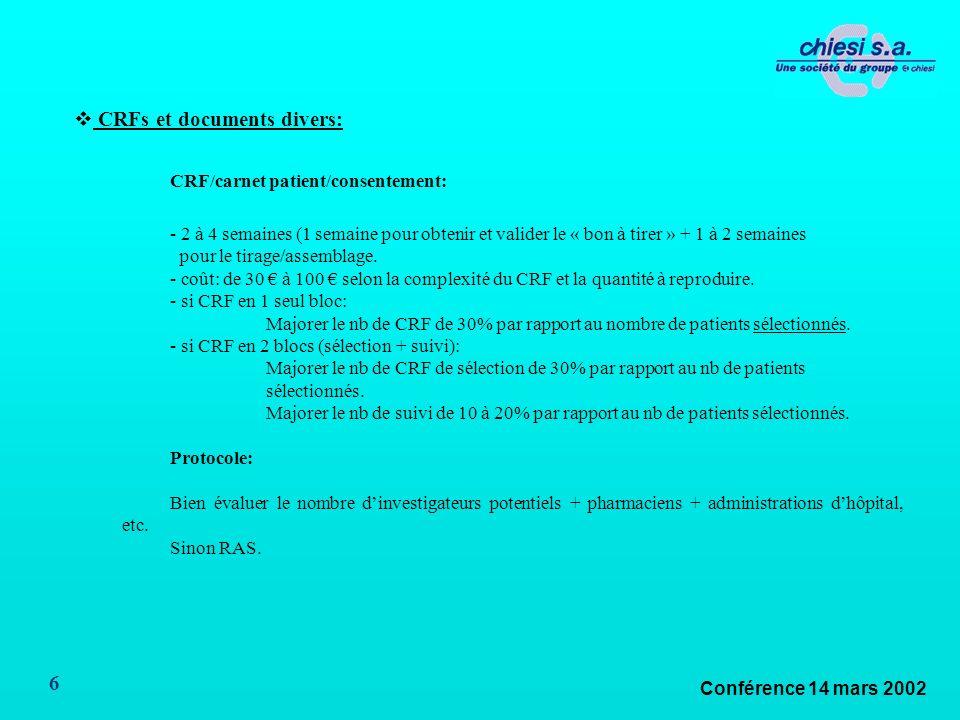 Conférence 14 mars 2002 6 CRFs et documents divers: CRF/carnet patient/consentement: - 2 à 4 semaines (1 semaine pour obtenir et valider le « bon à tirer » + 1 à 2 semaines pour le tirage/assemblage.