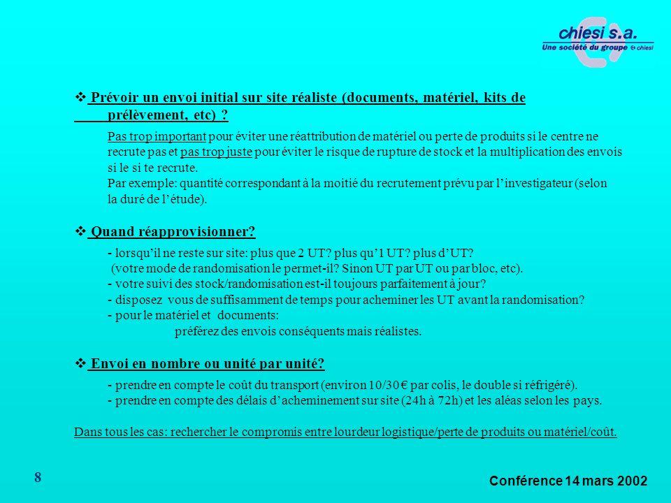 Conférence 14 mars 2002 8 Prévoir un envoi initial sur site réaliste (documents, matériel, kits de prélèvement, etc) .