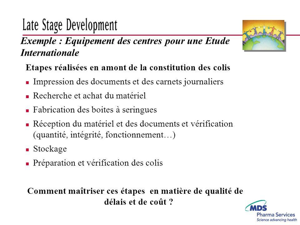 Exemple : Equipement des centres pour une Etude Internationale Etapes réalisées en amont de la constitution des colis n Impression des documents et de