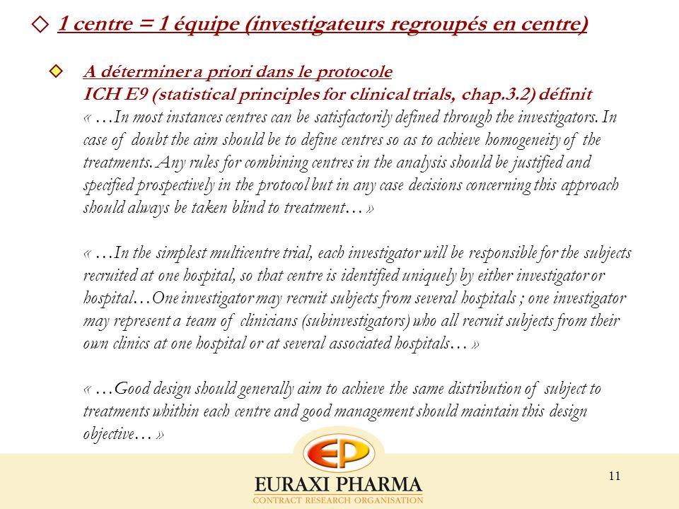 11 1 centre = 1 équipe (investigateurs regroupés en centre) A déterminer a priori dans le protocole ICH E9 (statistical principles for clinical trials