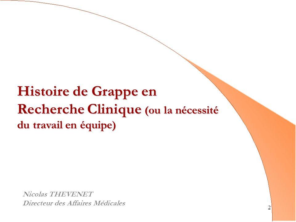 2 Histoire de Grappe en Recherche Clinique (ou la nécessité du travail en équipe) Nicolas THEVENET Directeur des Affaires Médicales
