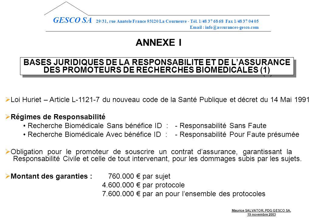 Maurice SALVATOR, PDG GESCO SA, 19 novembre 2003 GESCO SA 29/31, rue Anatole France 93120 La Courneuve - Tél.