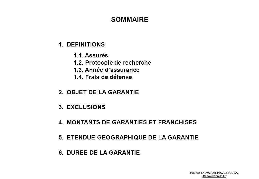 Maurice SALVATOR, PDG GESCO SA, 19 novembre 2003 SOMMAIRE 1.