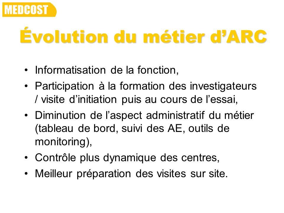 Évolution du métier dARC Informatisation de la fonction, Participation à la formation des investigateurs / visite dinitiation puis au cours de lessai,