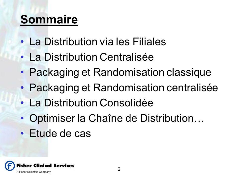 2 Sommaire La Distribution via les Filiales La Distribution Centralisée Packaging et Randomisation classique Packaging et Randomisation centralisée La