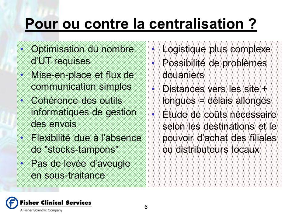 6 Pour ou contre la centralisation ? Optimisation du nombre dUT requises Mise-en-place et flux de communication simples Cohérence des outils informati