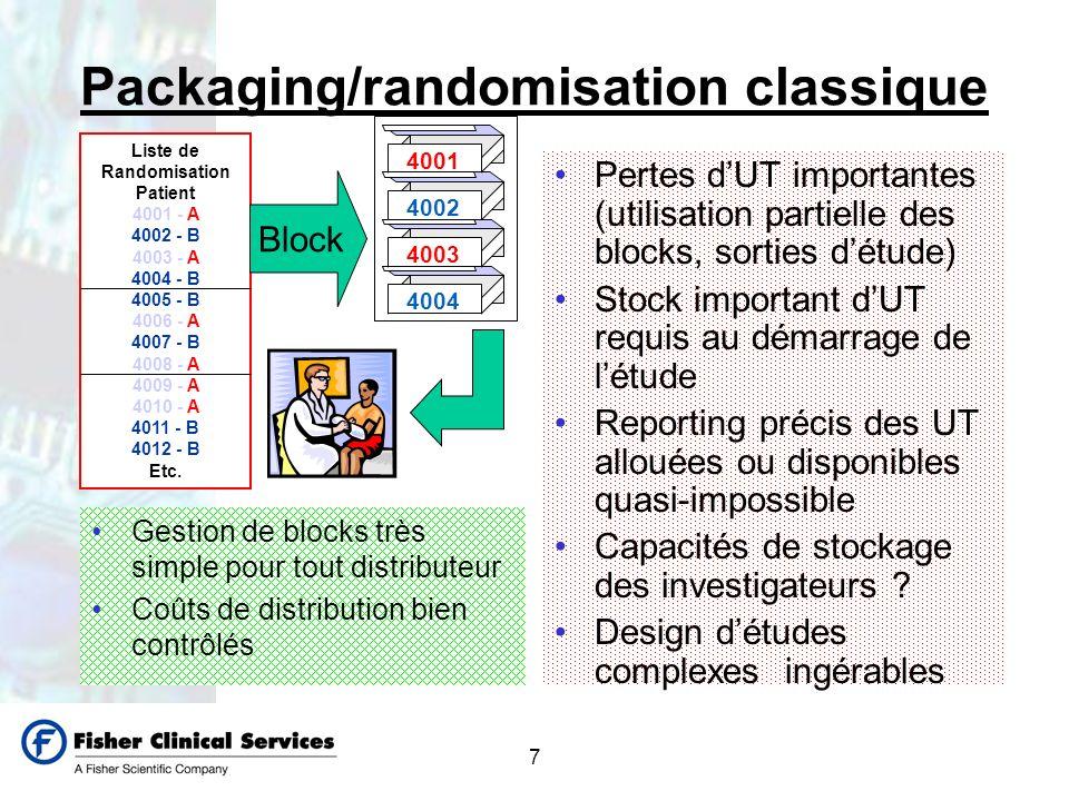 7 Packaging/randomisation classique Gestion de blocks très simple pour tout distributeur Coûts de distribution bien contrôlés Pertes dUT importantes (