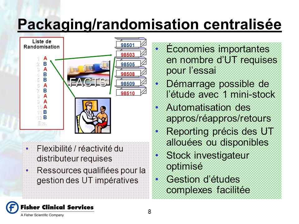 8 Packaging/randomisation centralisée Flexibilité / réactivité du distributeur requises Ressources qualifiées pour la gestion des UT impératives Écono
