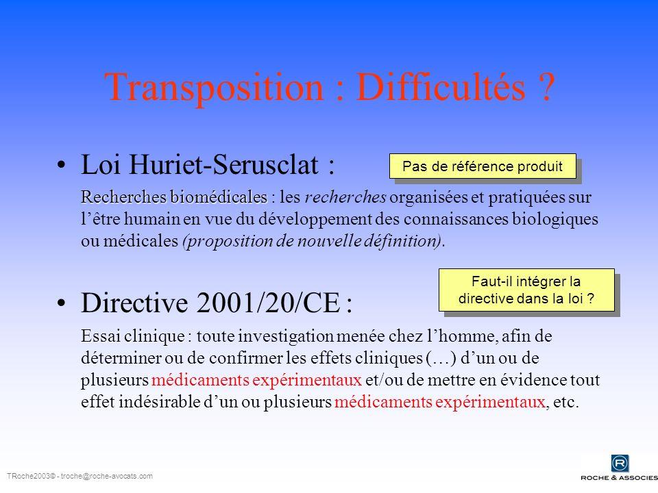 Transposition : Difficultés .