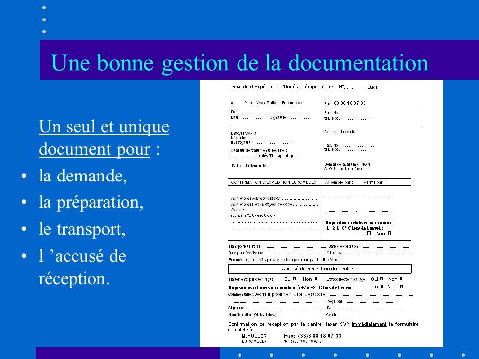 Une bonne gestion de la documentation Un seul et unique document pour : la demande, la préparation, le transport, l accusé de réception.