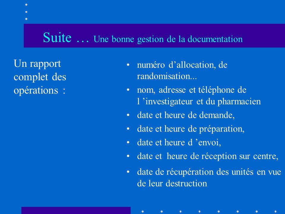 Suite … Une bonne gestion de la documentation Un rapport complet des opérations : numéro dallocation, de randomisation... nom, adresse et téléphone de