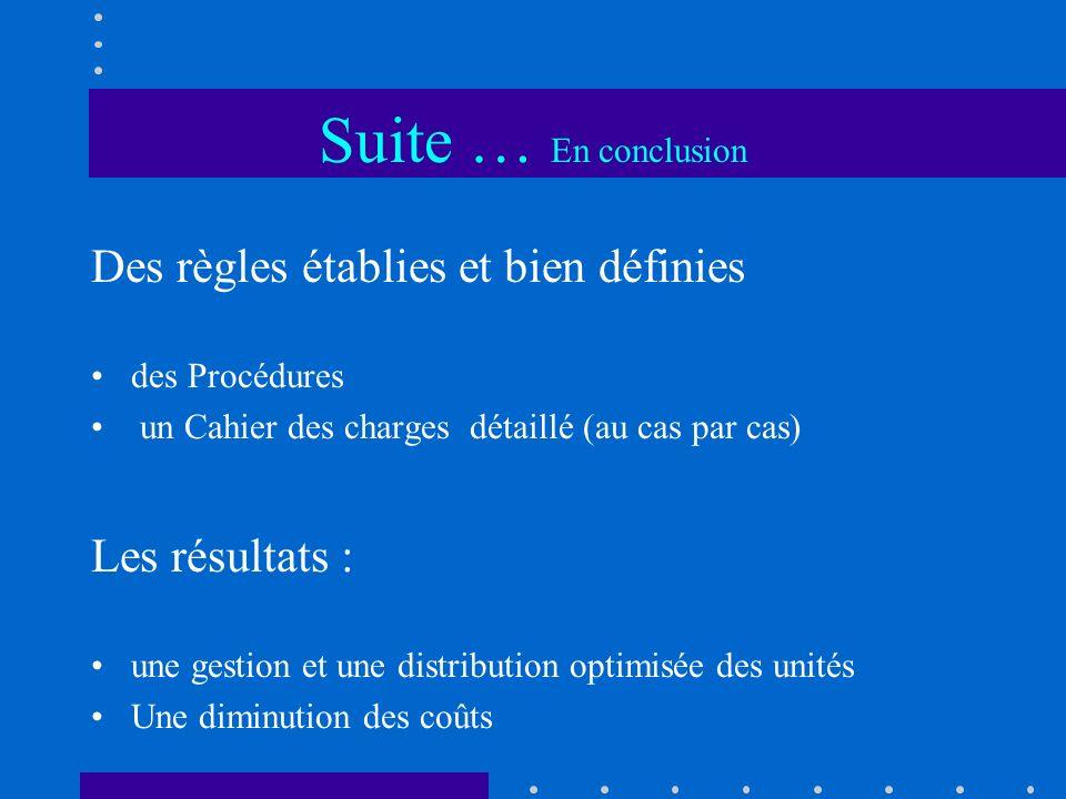 Suite … En conclusion Des règles établies et bien définies des Procédures un Cahier des charges détaillé (au cas par cas) Les résultats : une gestion