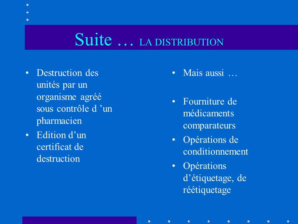 Suite … LA DISTRIBUTION Destruction des unités par un organisme agréé sous contrôle d un pharmacien Edition dun certificat de destruction Mais aussi …