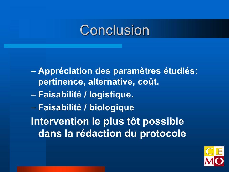 Conclusion –Appréciation des paramètres étudiés: pertinence, alternative, coût.
