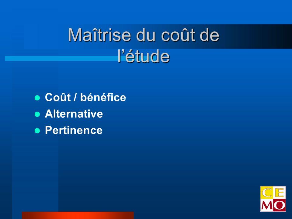 Coût / bénéfice Alternative Pertinence Maîtrise du coût de létude