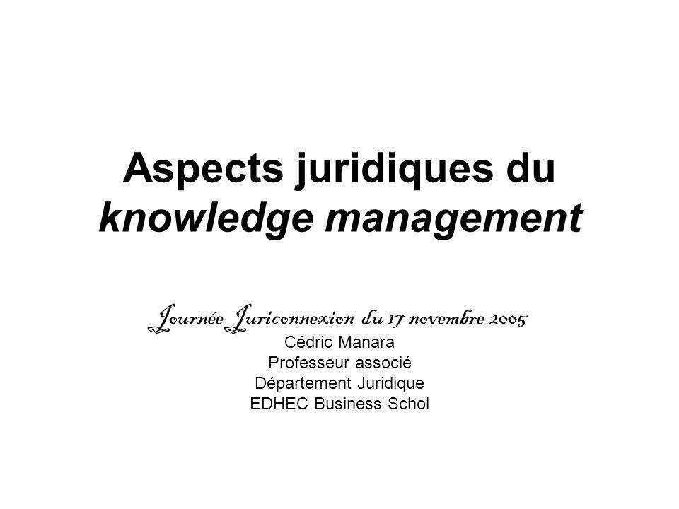 Aspects juridiques du knowledge management Journée Juriconnexion du 17 novembre 2005 Cédric Manara Professeur associé Département Juridique EDHEC Business Schol