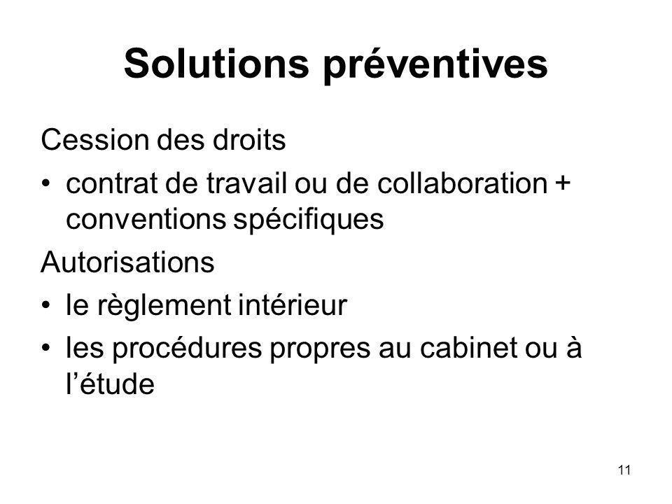 11 Solutions préventives Cession des droits contrat de travail ou de collaboration + conventions spécifiques Autorisations le règlement intérieur les procédures propres au cabinet ou à létude