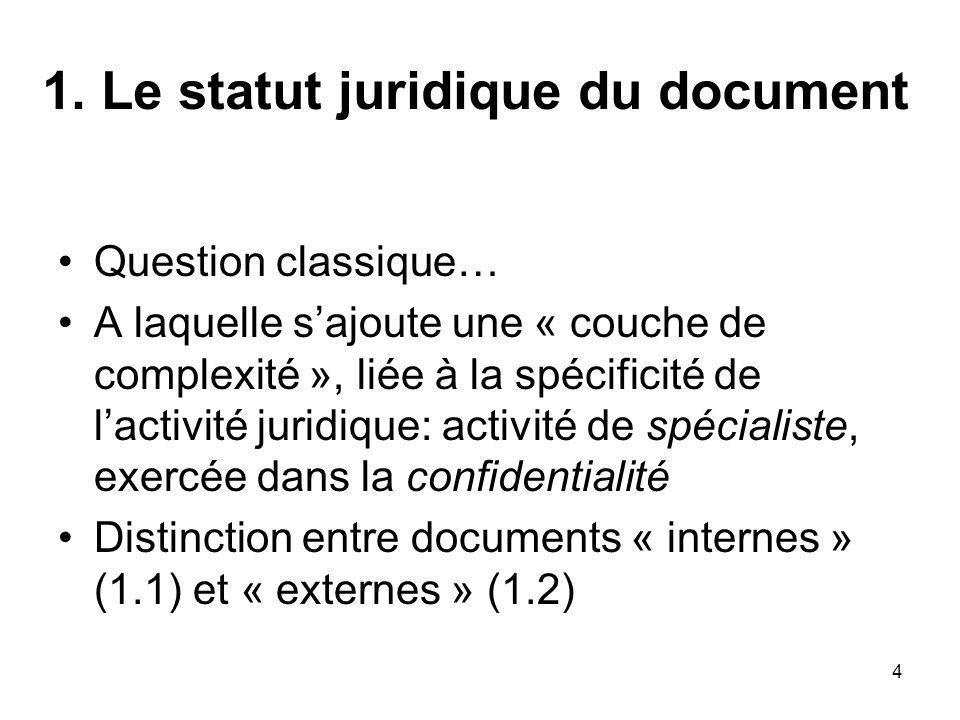 4 1. Le statut juridique du document Question classique… A laquelle sajoute une « couche de complexité », liée à la spécificité de lactivité juridique