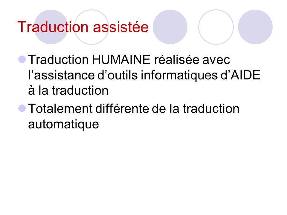 Traduction assistée Traduction HUMAINE réalisée avec lassistance doutils informatiques dAIDE à la traduction Totalement différente de la traduction au