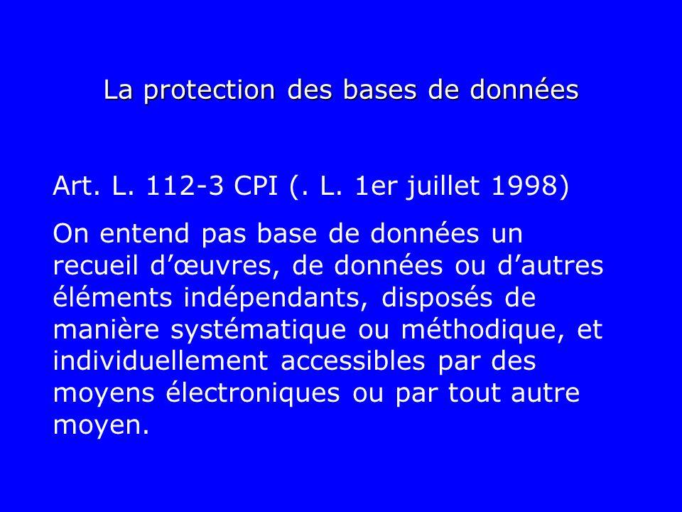 La protection des bases de données Art. L. 112-3 CPI (. L. 1er juillet 1998) On entend pas base de données un recueil dœuvres, de données ou dautres é