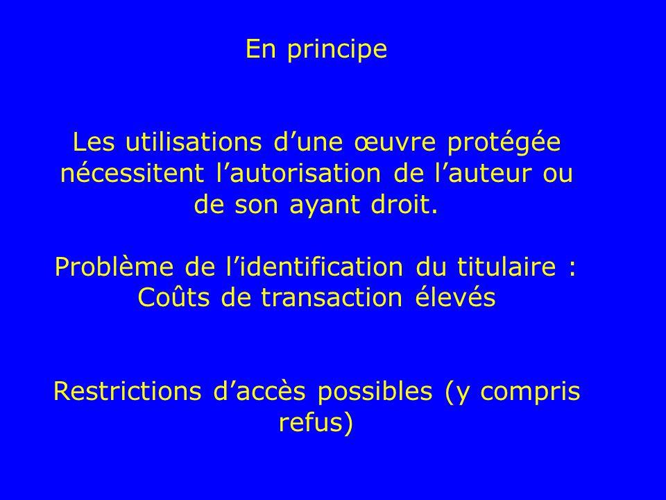 En principe Les utilisations dune œuvre protégée nécessitent lautorisation de lauteur ou de son ayant droit. Problème de lidentification du titulaire