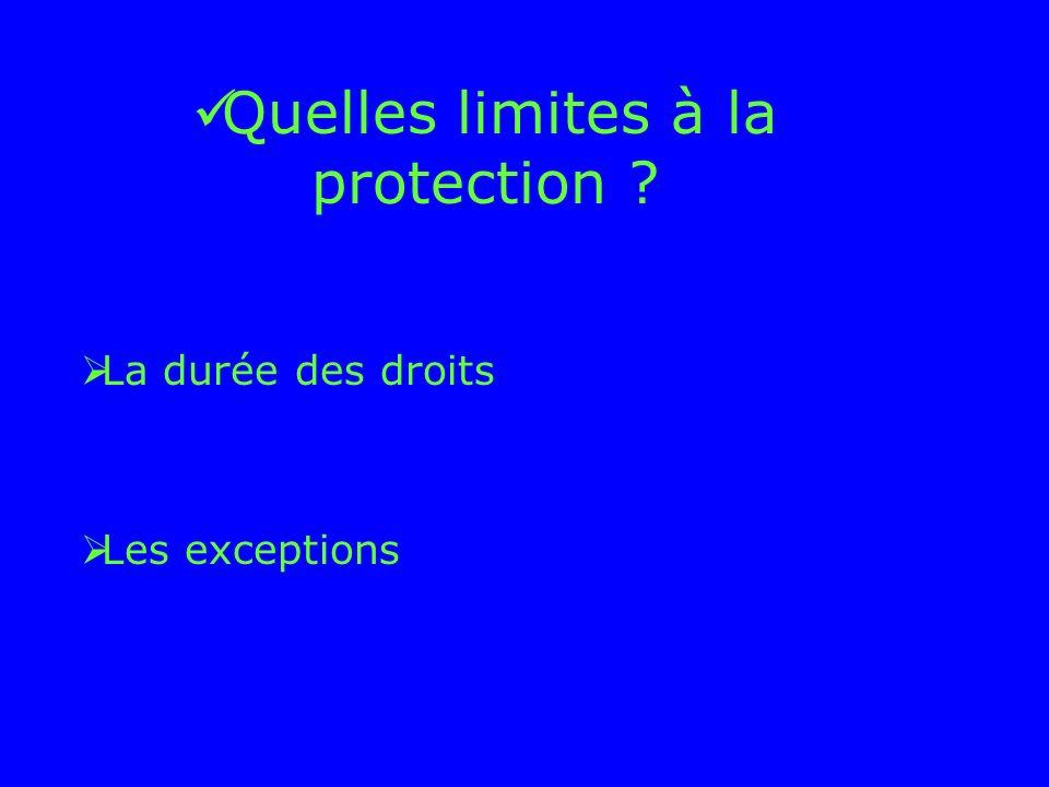 Quelles limites à la protection ? La durée des droits Les exceptions