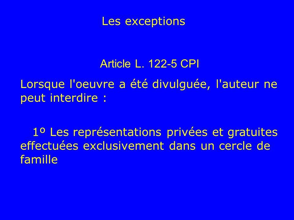 Les exceptions Article L. 122-5 CPI Lorsque l'oeuvre a été divulguée, l'auteur ne peut interdire : 1º Les représentations privées et gratuites effectu