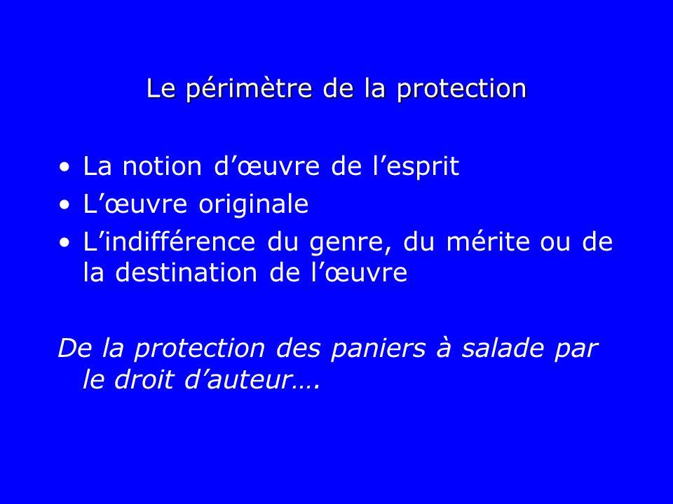 Le périmètre de la protection La notion dœuvre de lesprit Lœuvre originale Lindifférence du genre, du mérite ou de la destination de lœuvre De la prot