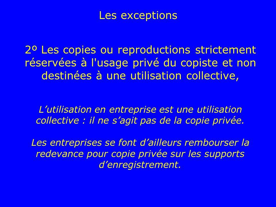 2º Les copies ou reproductions strictement réservées à l'usage privé du copiste et non destinées à une utilisation collective, Lutilisation en entrepr