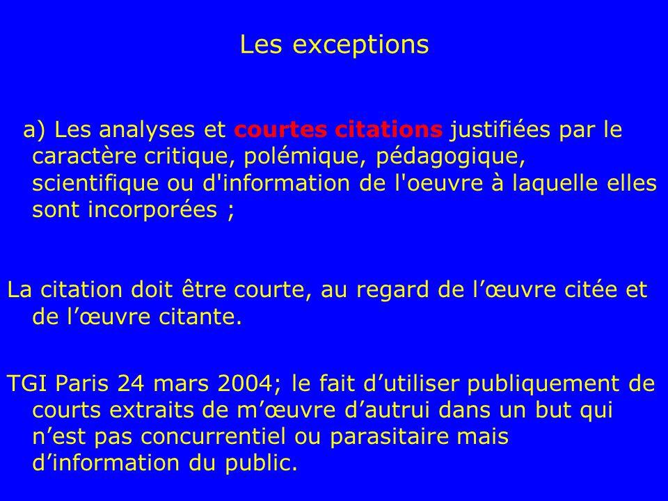Les exceptions a) Les analyses et courtes citations justifiées par le caractère critique, polémique, pédagogique, scientifique ou d'information de l'o