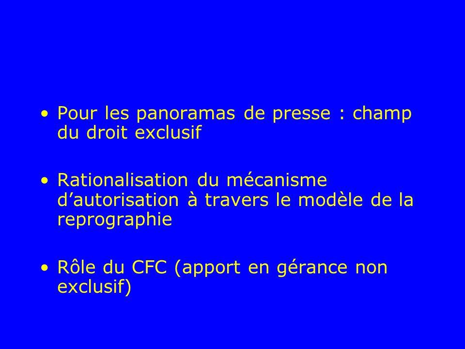 Pour les panoramas de presse : champ du droit exclusif Rationalisation du mécanisme dautorisation à travers le modèle de la reprographie Rôle du CFC (