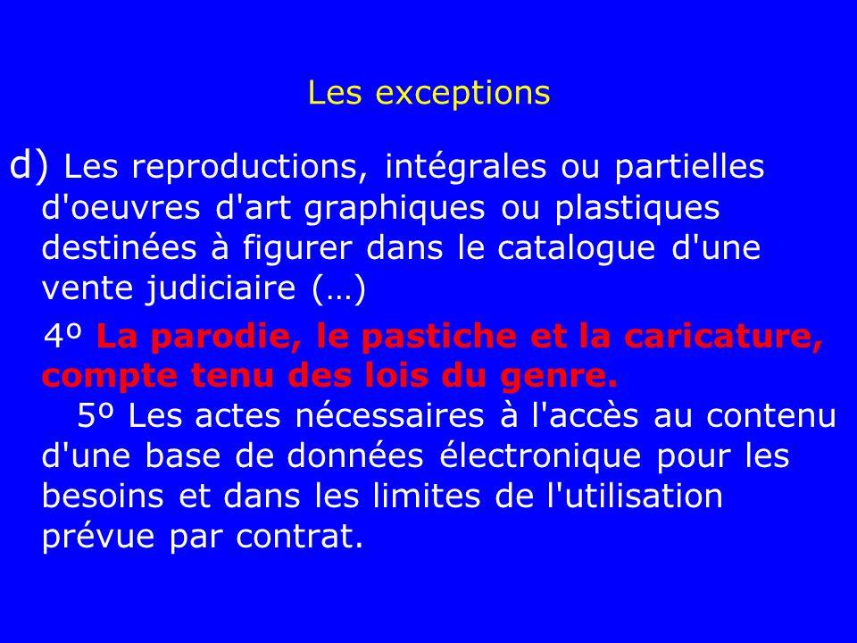 Les exceptions d) Les reproductions, intégrales ou partielles d'oeuvres d'art graphiques ou plastiques destinées à figurer dans le catalogue d'une ven